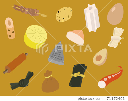 Oden material, background illustration, beef tendon, chikuwa, kelp, shirataki noodles, octopus, mochi purse, egg, konjac, radish, etc. 71172401