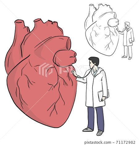 doctor using stethoscope to diagnose big heart vector illustration sketch doodle hand drawn with black lines isolated on white background. health concept. 71172982