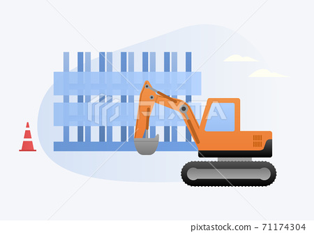 挖掘機和施工矢量圖 71174304