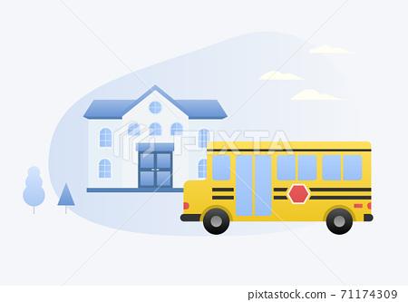 校車和學校矢量圖 71174309