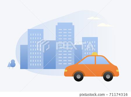 出租車和建築矢量圖 71174316