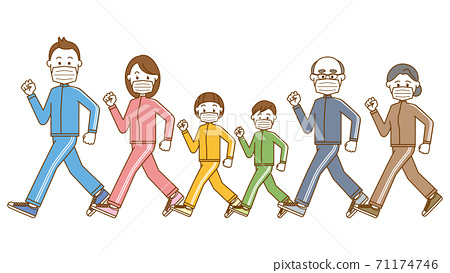 戴著面具走三代家庭的圖像插圖 71174746