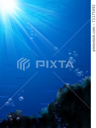 魚在水中游泳和岩石中的氣泡的插圖 71175092