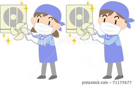 戴著面具的清潔公司清潔廚房的通風風扇 71175677
