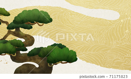 소나무와 파도를 다룬 일본식 배경 - 여러 종류가 있습니다 71175823