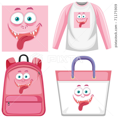 Set of monster facial expression clothes mock up 71175909