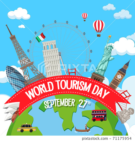 World tourism day logo with famous tourist 71175954