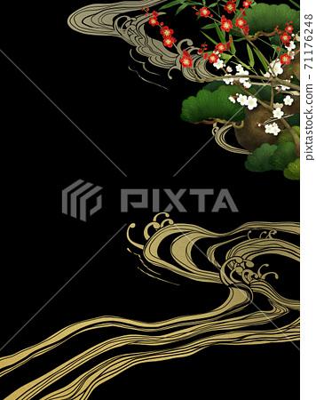 송죽매와 파도의 일본식 배경 - 여러 종류가 있습니다 71176248