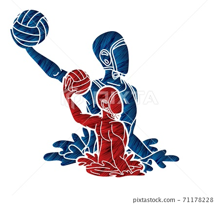 Group of water polo players  action cartoon graphic vector 71178228