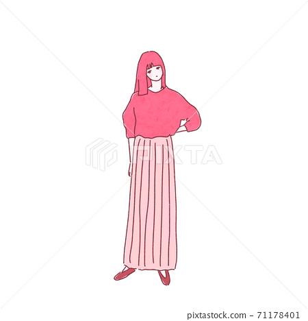 粉紅色的長裙子的女人 71178401