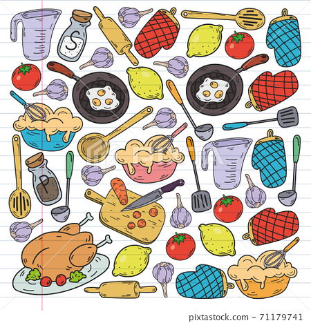 Vector sketch background with kitchen utensils, vegetables, cooking, products, kitchenware. Doodle elements. 71179741