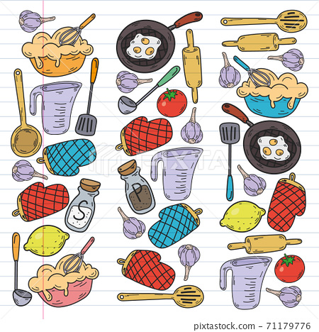 Vector sketch background with kitchen utensils, vegetables, cooking, products, kitchenware. Doodle elements. 71179776