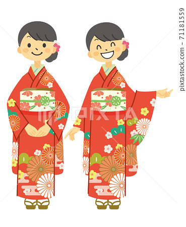 2 poses of a woman in furisode 71181559