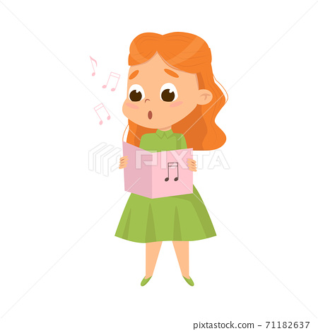 Cute Girl Singing with Open Music Book Vector Illustration 71182637