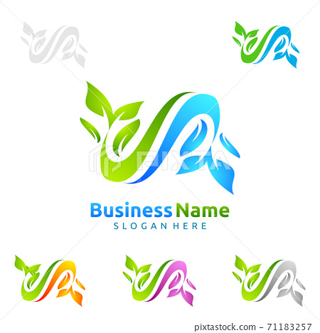 Natural Green Tree Logo with Ecology Leaf Concept 71183257
