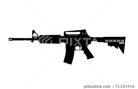 Black silhouette of machine gun on white background. Weapons of police and army 71183416