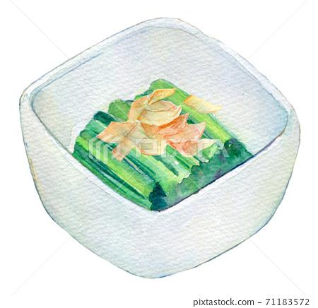 수채화 일러스트 식품 시금치 나물 71183572