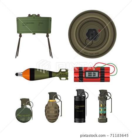 Detailed realistic image of dinamite with timer. Terrorist explosive. 3d weapon icon. Military isolated object 71183645