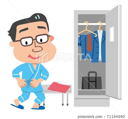 健康檢查,換衣服,男性插圖 71184890