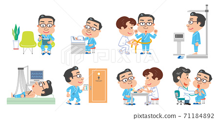 健康檢查檢查內容中年男性插圖 71184892