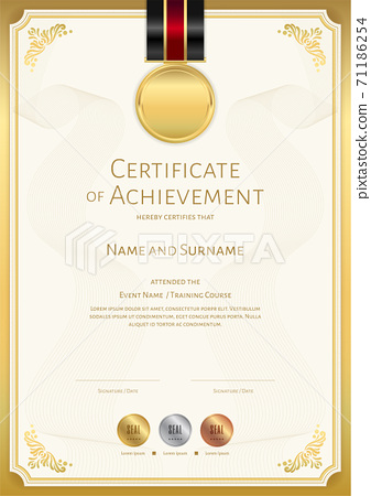 Certificate template in sport theme with border frame, Diploma design 71186254