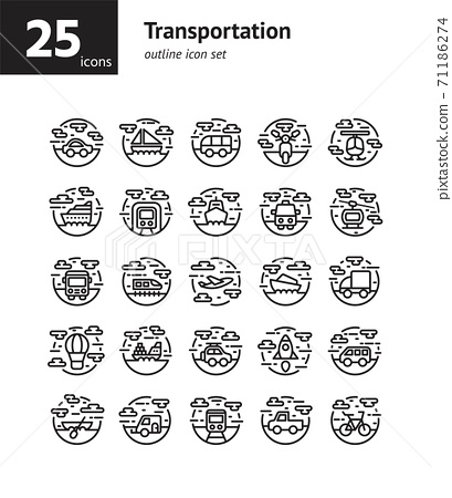 Transportation outline icon set. Vector and Illustration. 71186274