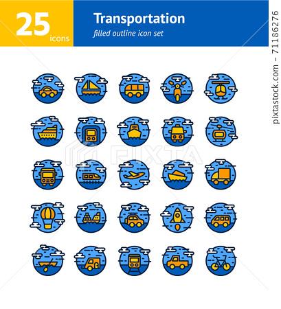 Transportation filled outline icon set. Vector and Illustration. 71186276