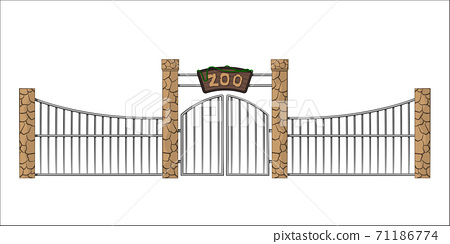 Zoo gate. Isolated object in cartoon style on white background. Gateway with lattice 71186774