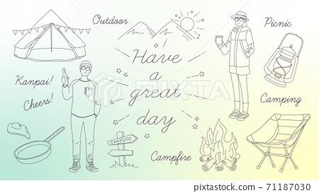 簡單的戶外營地插圖集 71187030