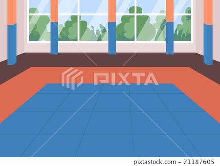 Martial arts dojo flat color vector illustration 71187605