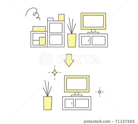 一套用於裁剪,整理和清潔的插圖/未使用的物品/常規清潔/組織/室內/房間/回收/清潔 71187888