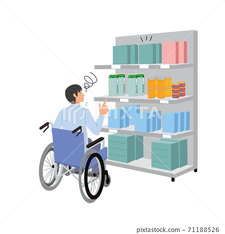 一個坐在輪椅上無法觸及物品的人的插圖 71188526