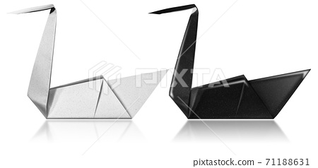 Black and White Paper Swans - Origami isolated on white background 71188631