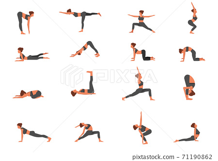 A set of young women with a slim figure doing yoga Healthy lifestyle. Collection of female cartoon characters performing various yoga poses on white background - Vector 71190862