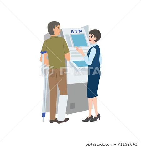 一個男人與一個松針手杖和一個女人幫助ATM操作的插圖 71192843