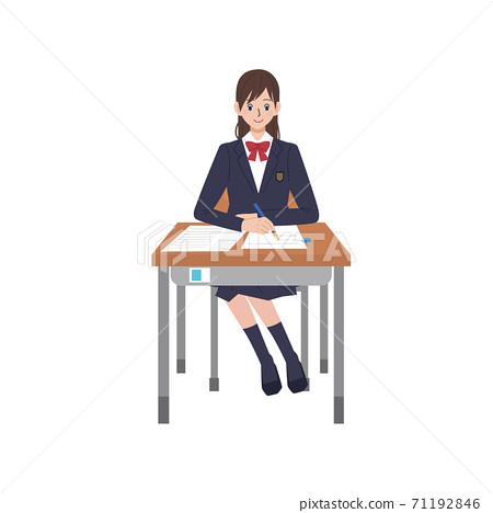 高中女生參加考試插圖 71192846