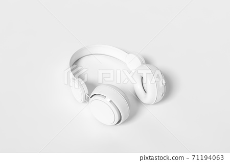 Headphones isolated on a white background 3d rendering. 3d illustration modern Fun Teenager Yellow Headphones with a fun and flat design template minimal music concept. 71194063