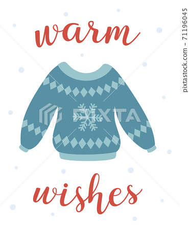winter card with cute ugly sweater, vector illustration 71196045