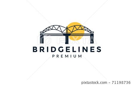 bridge line art outline with sunset logo vector icon design 71198736