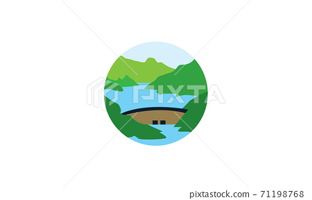 dams river with nature view logo vector icon design 71198768