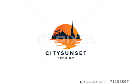 city building with sea sunset modern silhouette  logo vector icon illustration 71198847