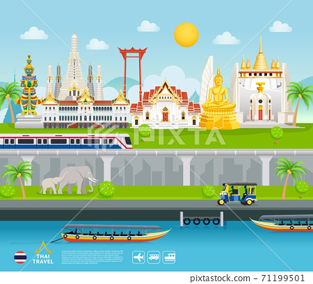 Thailand famous landmarks travel banner beautiful places flat style background. 71199501