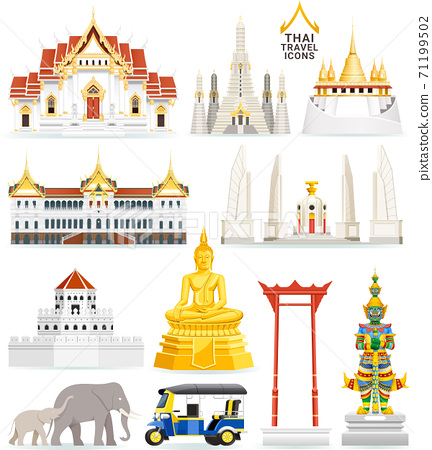 Thai famous landmark icons. Vector illustrations. 71199502