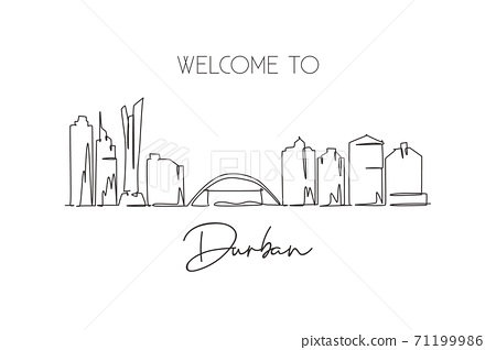One single line drawing of Durban city skyline, South Africa. World historical town landscape wall decor poster print. Best holiday destination. Trendy continuous line draw design vector illustration 71199986