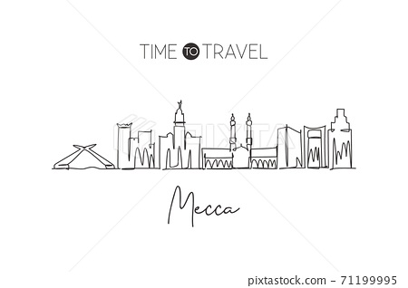 Single Continuous Line Drawing Of Mecca Holy Stock Illustration 71199995 Pixta
