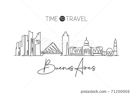 One continuous line drawing of Buenos Aires city skyline Argentina. Beautiful landmark. World landscape tourism and travel vacation. Editable stylish stroke single line draw design vector illustration 71200008