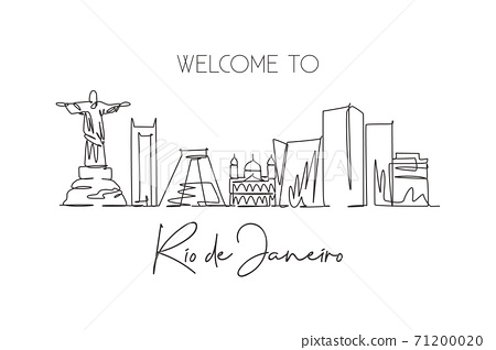 Single continuous line drawing of Rio de Janeiro city skyline, Brazil. Famous city scraper and landscape. World travel postcard concept. Editable stroke modern one line draw design vector illustration 71200020