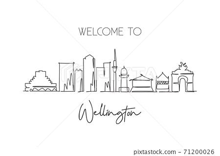 One continuous line drawing  Wellington city skyline New Zaeland. Beautiful landmark home wall decor poster print. World landscape tourism travel vacation. Single line draw design vector illustration 71200026