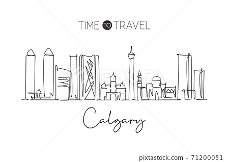 Single continuous line drawing of Calgary city skyline, Canada. Famous city scraper landscape home wall decor poster. World travel destination concept. Modern one line draw design vector illustration 71200051