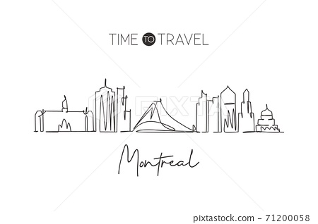 One continuous line drawing Montreal city skyline, Canada. Beautiful landmark home wall decor poster print. World landscape tourism travel vacation. Stylish single line draw design vector illustration 71200058